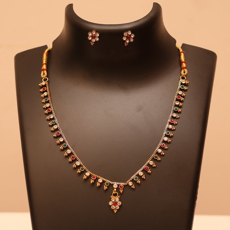 Single Line Multicolored Baby Chain & Earring Set