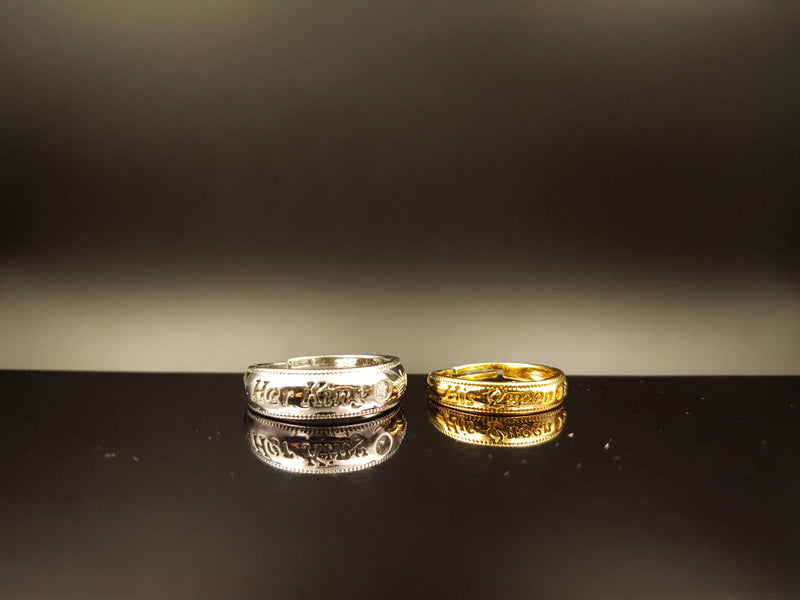 Gold & Silver Her King His Queen Couple Ring