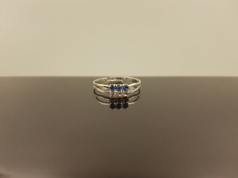 Dual Colored Stone Adjustable Ring - Blue
