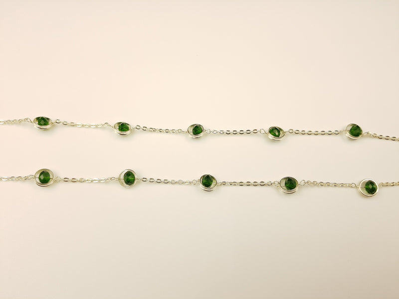 Green Crystal Silver Anklet