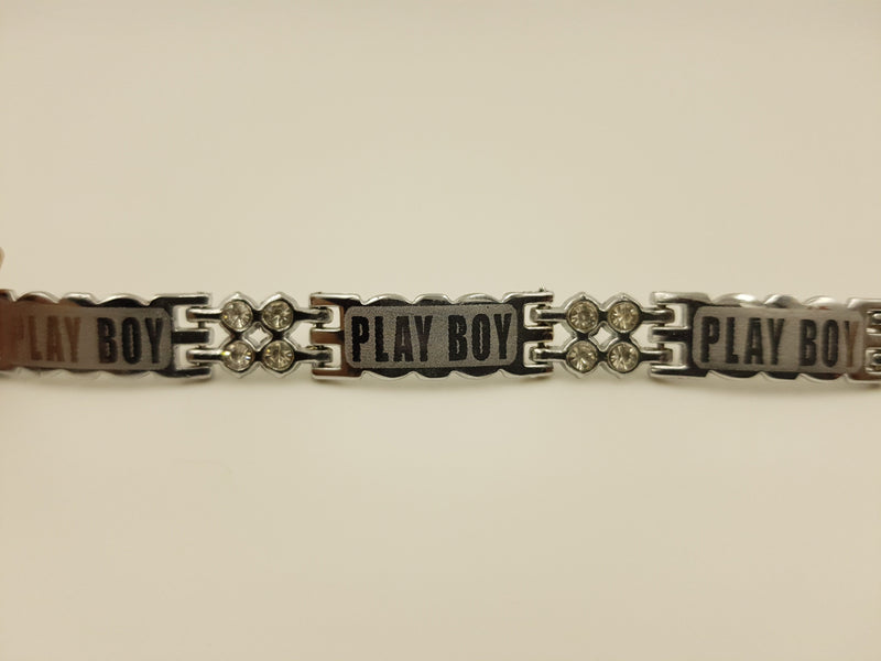 Silver Coloured Stone Studded Play Boy Bracelet
