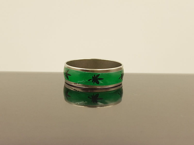 Stainless Steel Ring - Pot Leaf