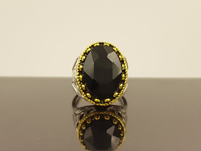 Oxidised Oval Crystal Alloy Ring - Black