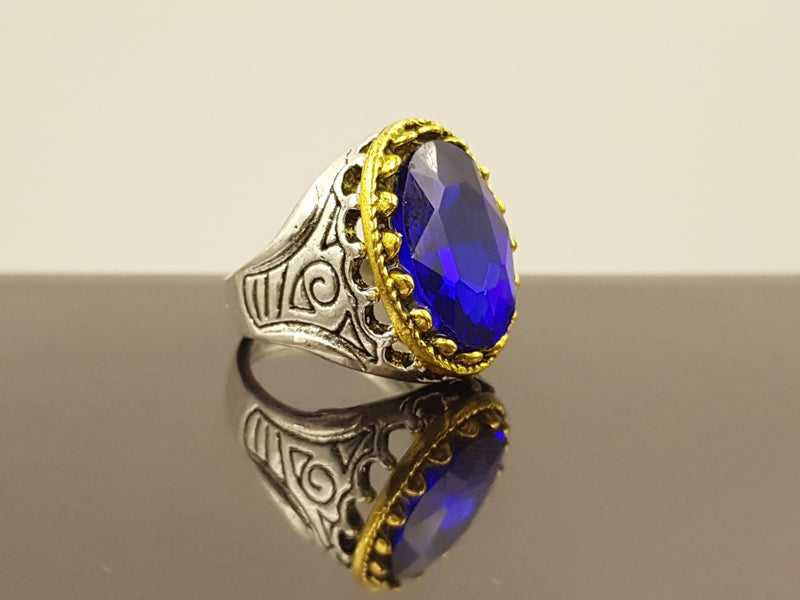 Oxidised Oval Crystal Alloy Ring - Blue