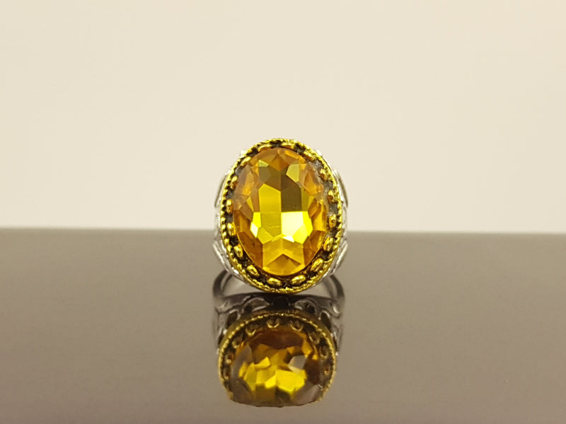 Oxidised Oval Crystal Alloy Ring - Gold