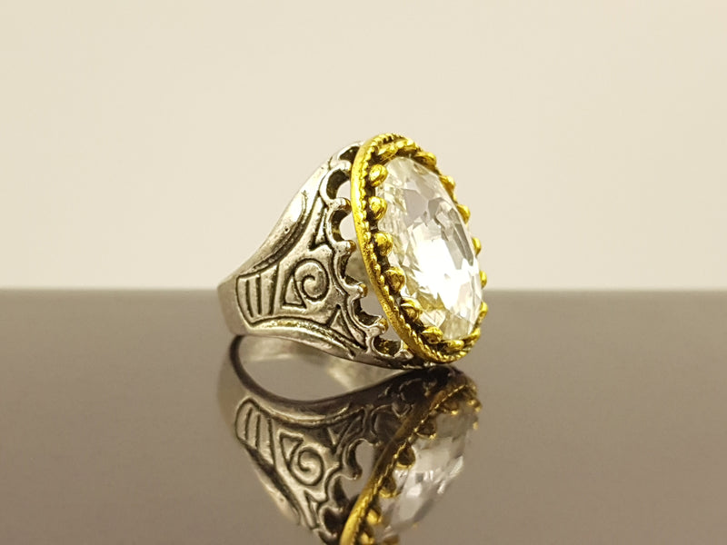 Oxidised Oval Crystal Alloy Ring - White