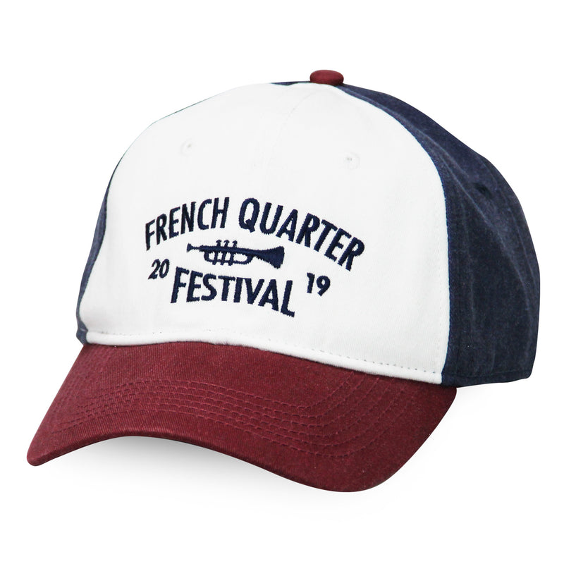 French Quarter Festival Headwear Riverfront Red, White, and Blue Velcro Closure Hat Cap - Front