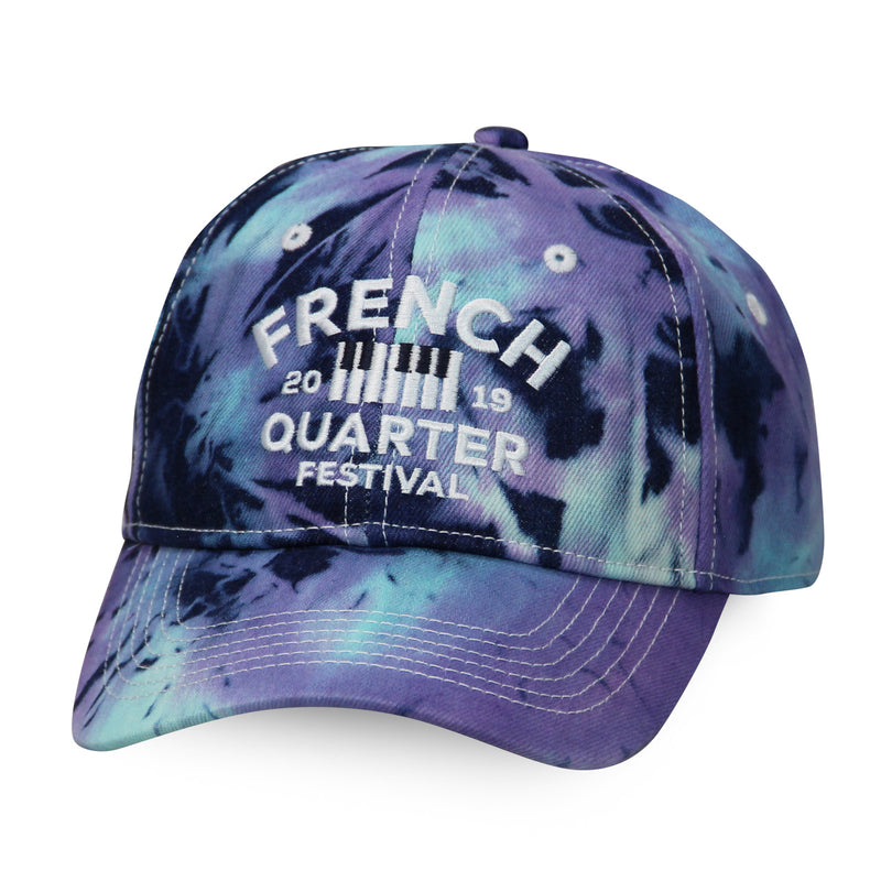 French Quarter Festival Headwear Tie-Dye Zydeco Velcro Closure Hat Cap - Front