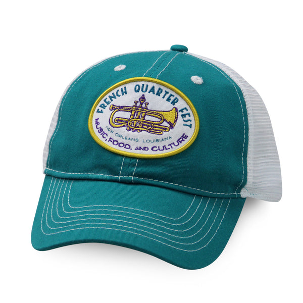 French Quarter Festival Headwear Teal Soul Snapback Hat Cap With Mesh Back - Front