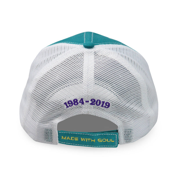French Quarter Festival Headwear Teal Soul Snapback Hat Cap With Mesh Back - Back