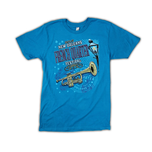 2015 French Quarter Festival Lineup T-Shirt Turquoise Blue - Front