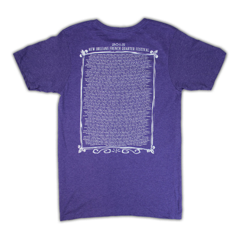 2015 French Quarter Festival Lineup T-Shirt Purple - Back