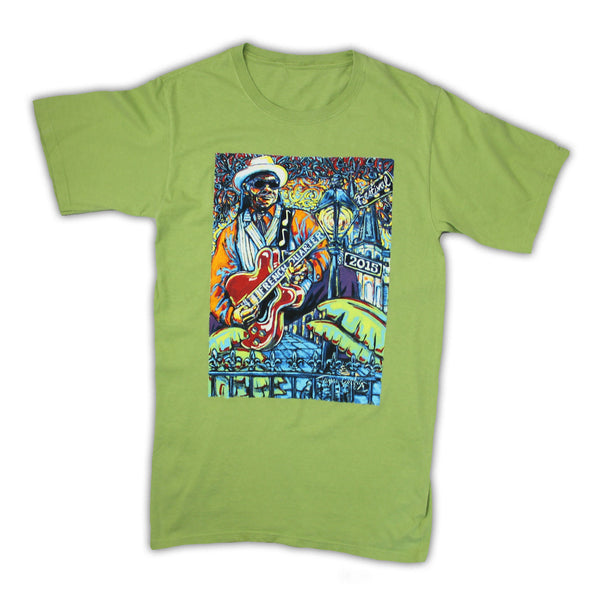 2015 French Quarter Festival Poster T-Shirt Cactus Green - Front