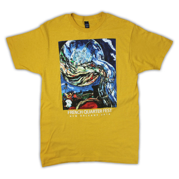 2016 French Quarter Festival Poster T-Shirt Yellow - Front