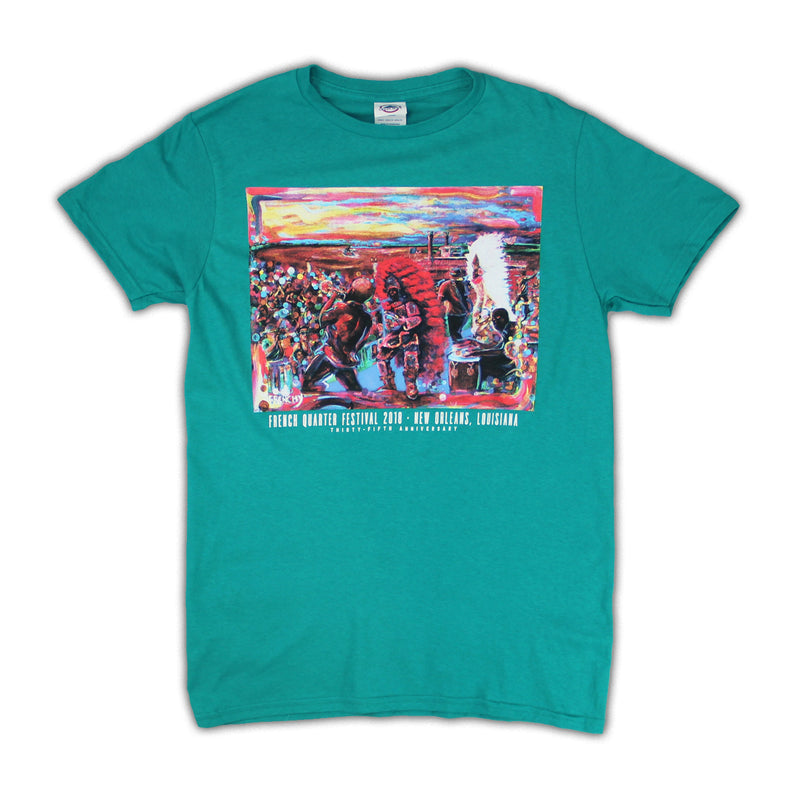 2018 French Quarter Festival Poster Teal T-Shirt - Front