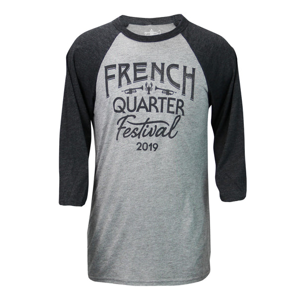 French Quarter Festival Adult Men's Gray Baseball Raglan Tee - Front