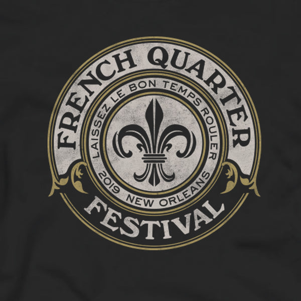 French Quarter Festival Adult Black Good Times T-shirt Tee - Detail