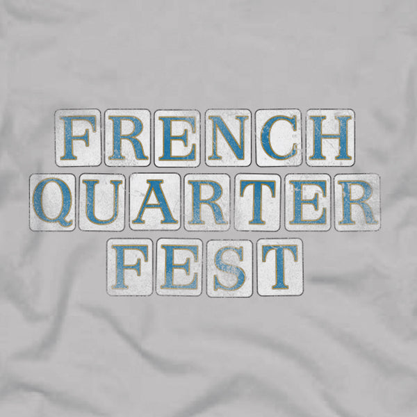 French Quarter Festival Adult Silver Gray Street Tile T-Shirt Tee - Detail