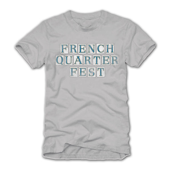 French Quarter Festival Adult Silver Gray Street Tile T-Shirt Tee - Front