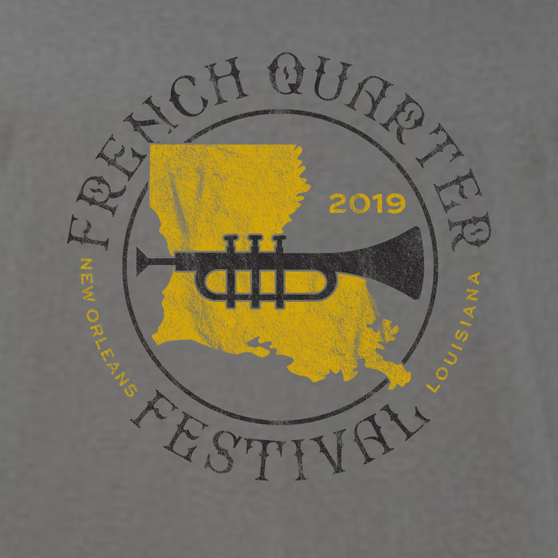 French Quarter Festival Adult Charcoal Unisex Simple Sound Tank - Detail