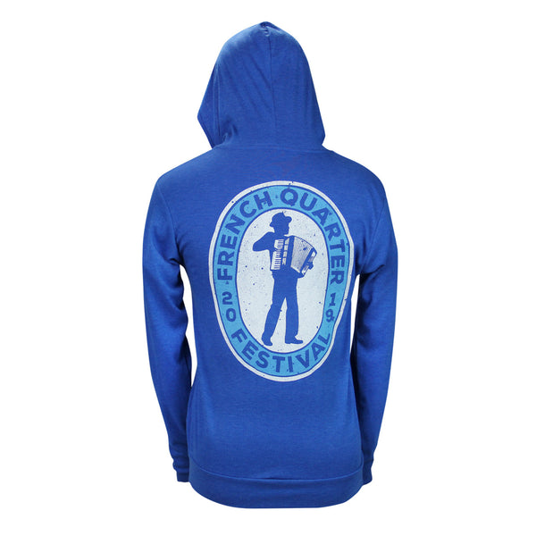 French Quarter Festival Outerwear Adult Men's Heather Blue Zydeco Full Zip Hoodie - Back