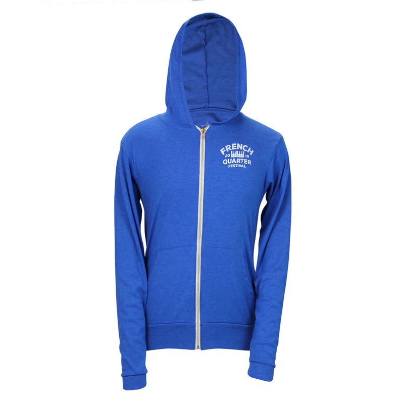 French Quarter Festival Outerwear Adult Men's Heather Blue Zydeco Full Zip Hoodie - Front