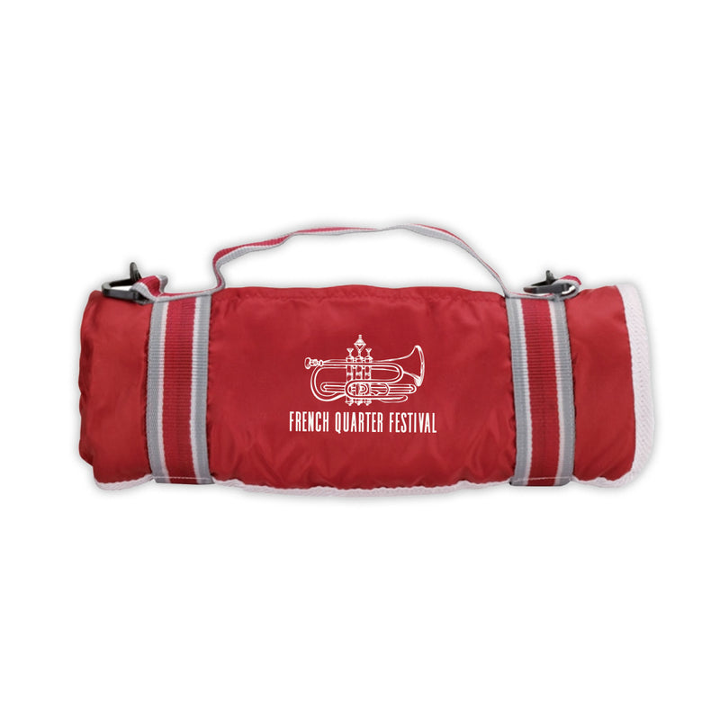 French Quarter Festival Novelty Official Logo Picnic Blanket In Red - Front