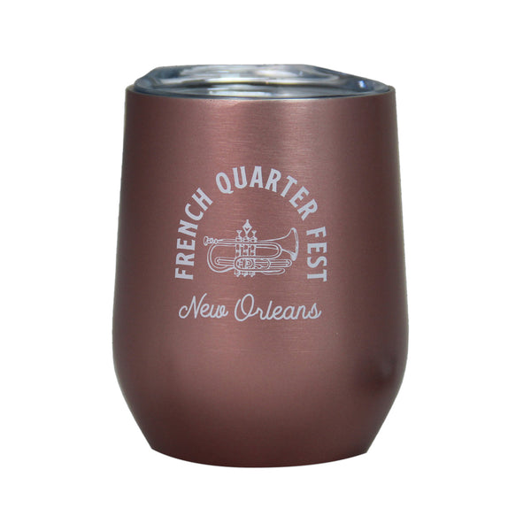 French Quarter Festival Novelty Rose Gold Stainless Steel Wine Glass - Front