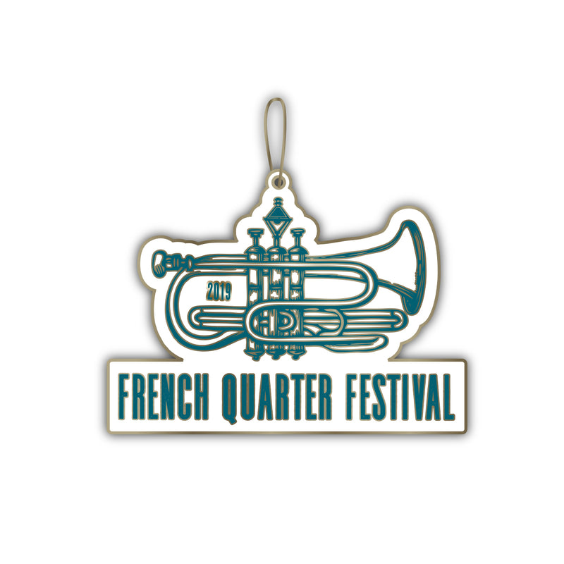 French Quarter Festival Novelty FQF Logo Ornament - Front