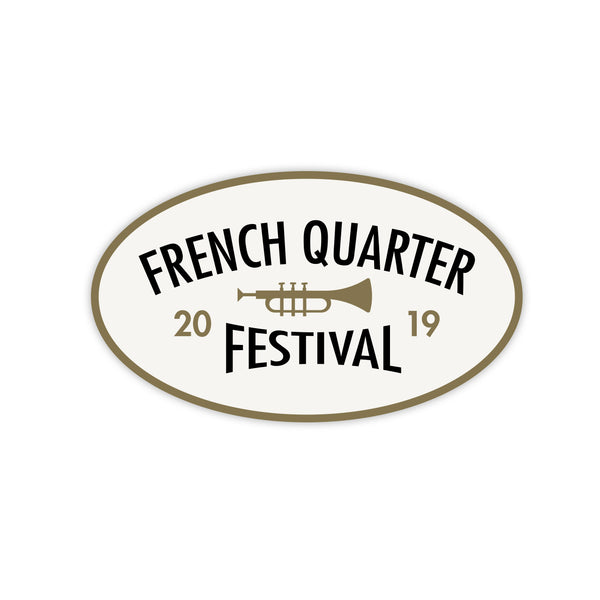 French Quarter Festival Novelty White Celebrate Sticker Decal - Front