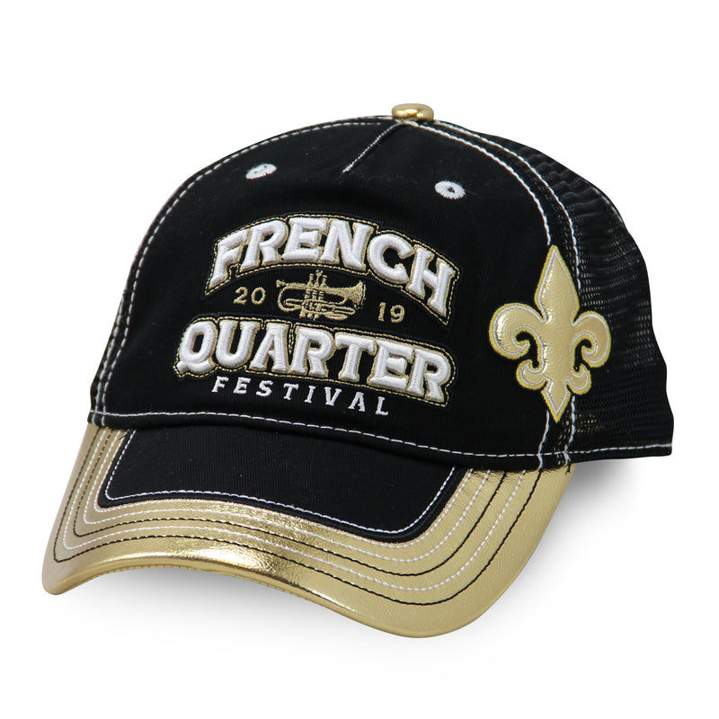French Quarter Festival Headwear Women's Who Dat Snapback Hat Cap - Front