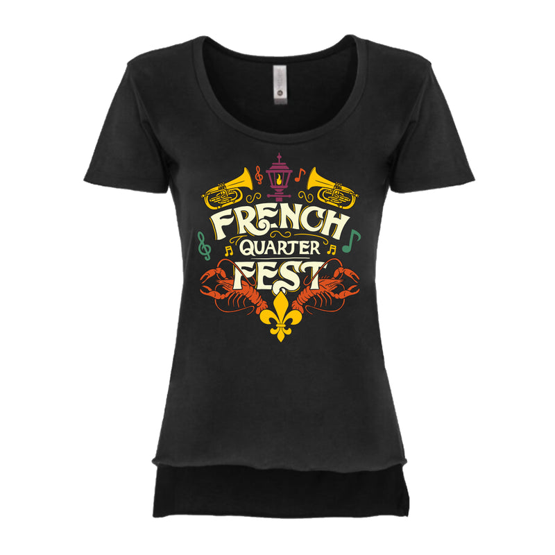 French Quarter Festival Adult Women's Big Easy High Low Hem T-Shirt Tee - Front