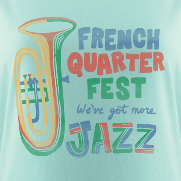 French Quarter Festival Adult Women's Mint More Jazz Dolman T-shirt Tee - Detail