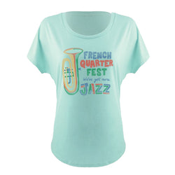 French Quarter Festival Adult Women's Mint More Jazz Dolman T-shirt Tee - Front