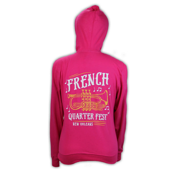 French Quarter Festival Outerwear Adult Women's Pink In Tune Full Zip Hoodie - Back
