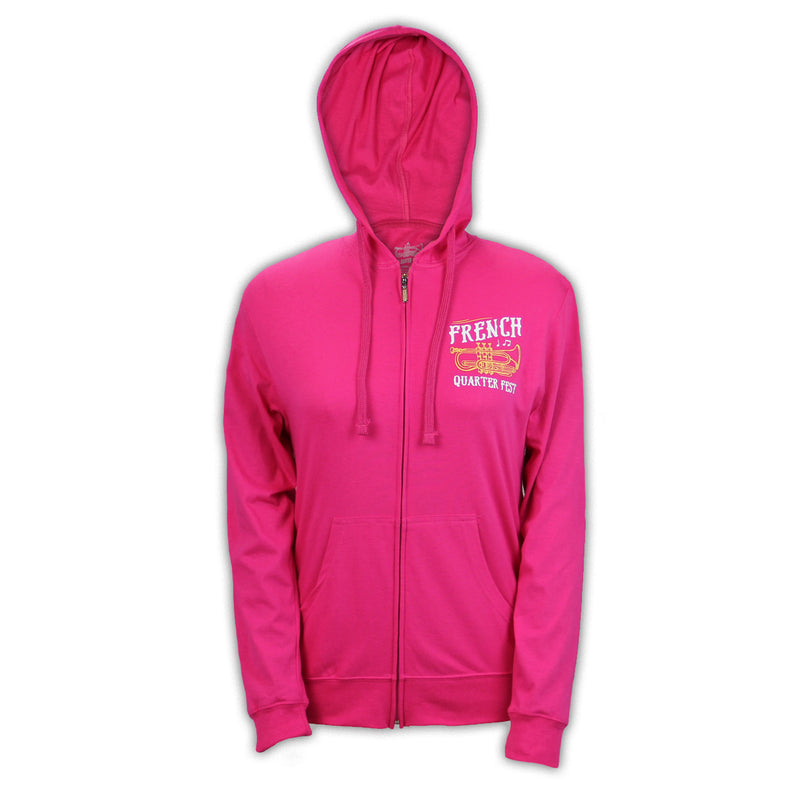 French Quarter Festival Outerwear Adult Women's Pink In Tune Full Zip Hoodie - Front