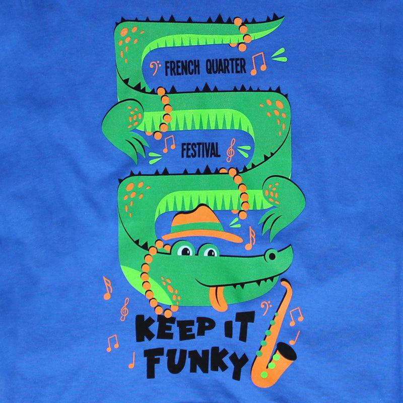 French Quarter Festival Youth Keep It Funky Long Sleeve Blue T-shirt Tee - Detail