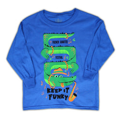 French Quarter Festival Youth Keep It Funky Long Sleeve Blue T-shirt Tee - Front