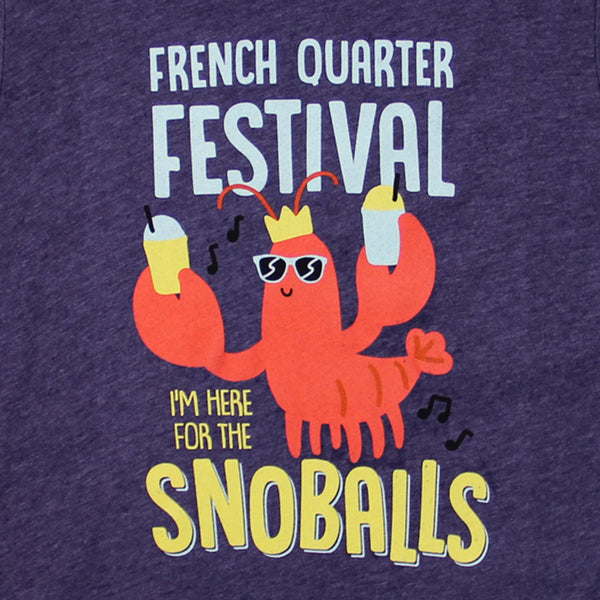 French Quarter Festival Youth Heather Purple Snack Attack T-shirt Tee - Detail