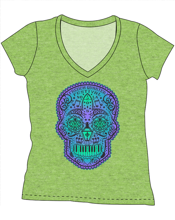 FQF Ladies' Sugar Skull V-Neck