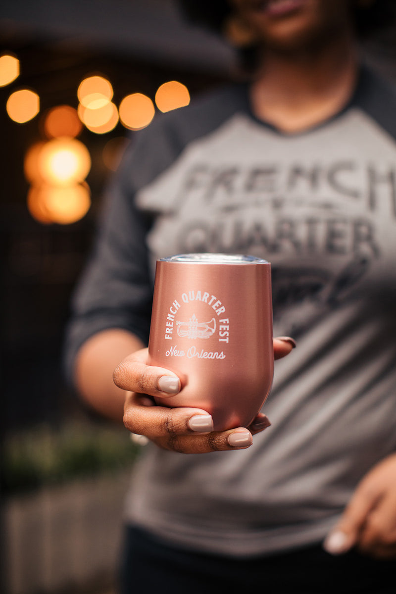 French Quarter Festival Novelty Rose Gold Stainless Steel Wine Glass - Lifestyle
