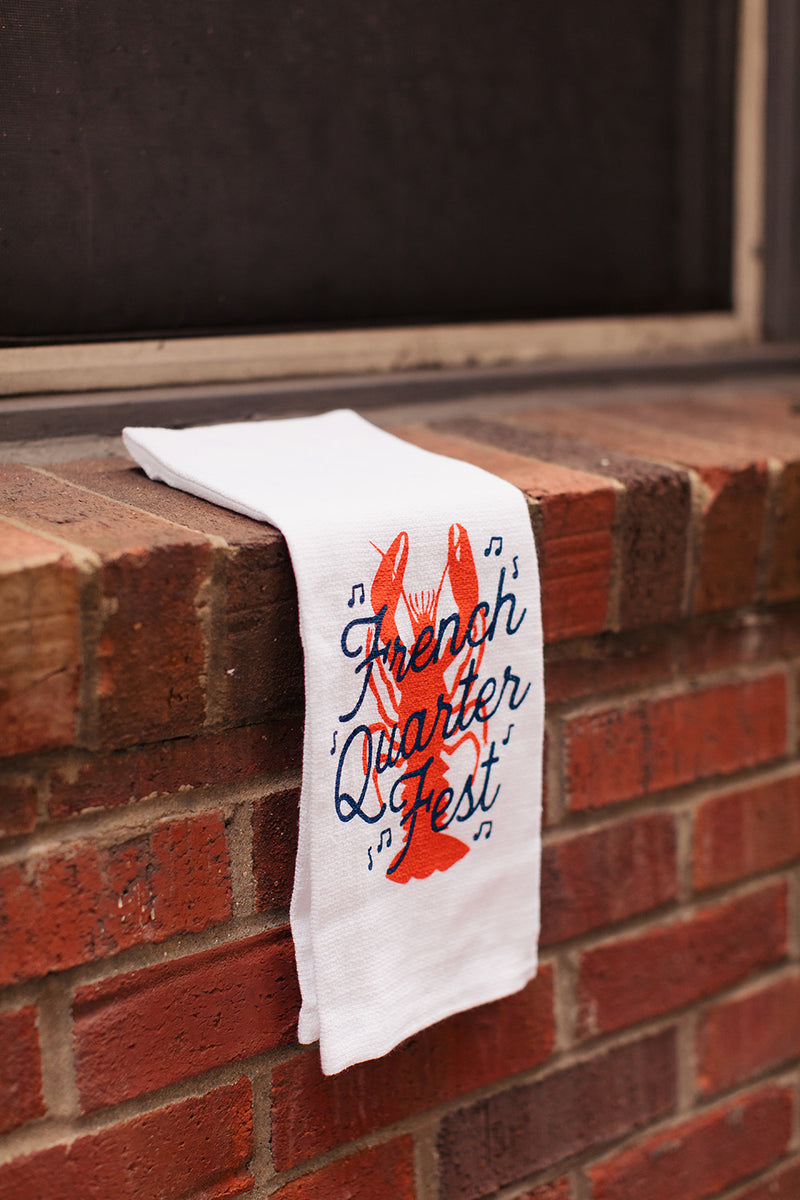 French Quarter Festival Novelty White Tea Towel - Lifestyle