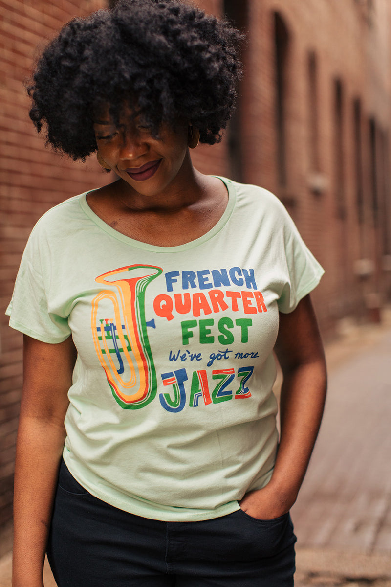 French Quarter Festival Adult Women's Mint More Jazz Dolman T-shirt Tee - Lifestyle