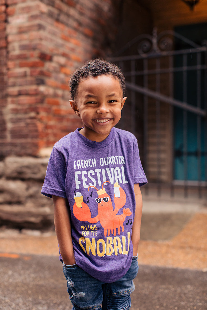 French Quarter Festival Youth Heather Purple Snack Attack T-shirt Tee - Lifestyle