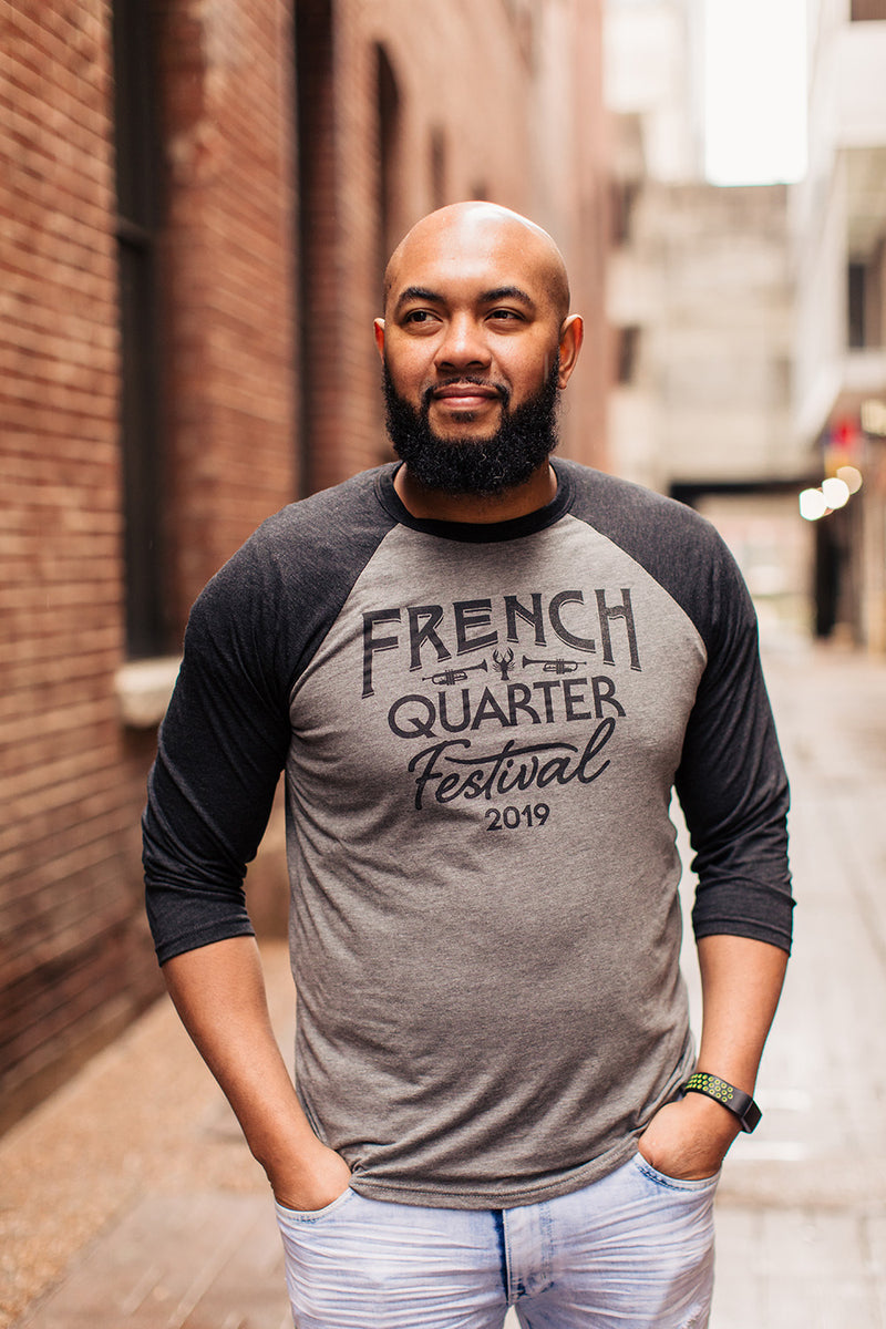 French Quarter Festival Adult Men's Gray Baseball Raglan Tee - Lifestyle