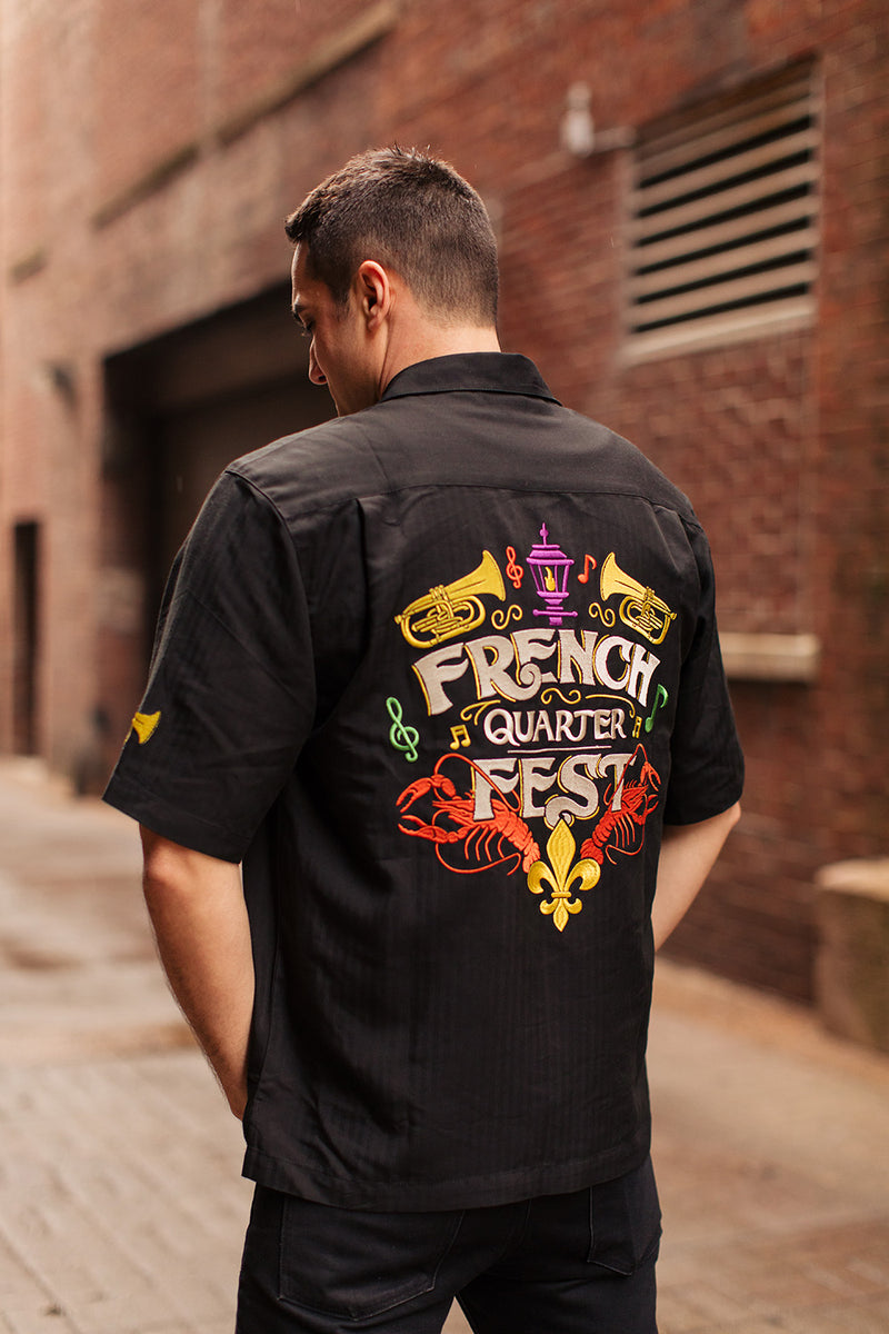French Quarter Festival Adult Black Big Easy Camp Shirt - Lifestyle