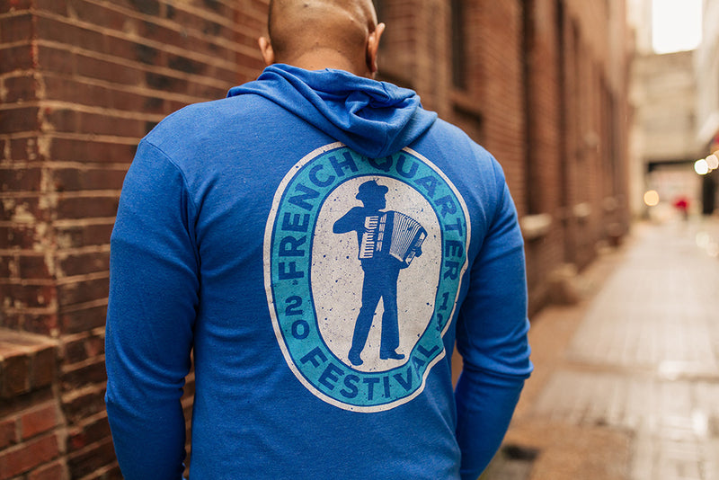 French Quarter Festival Outerwear Adult Men's Heather Blue Zydeco Full Zip Hoodie - Lifestyle