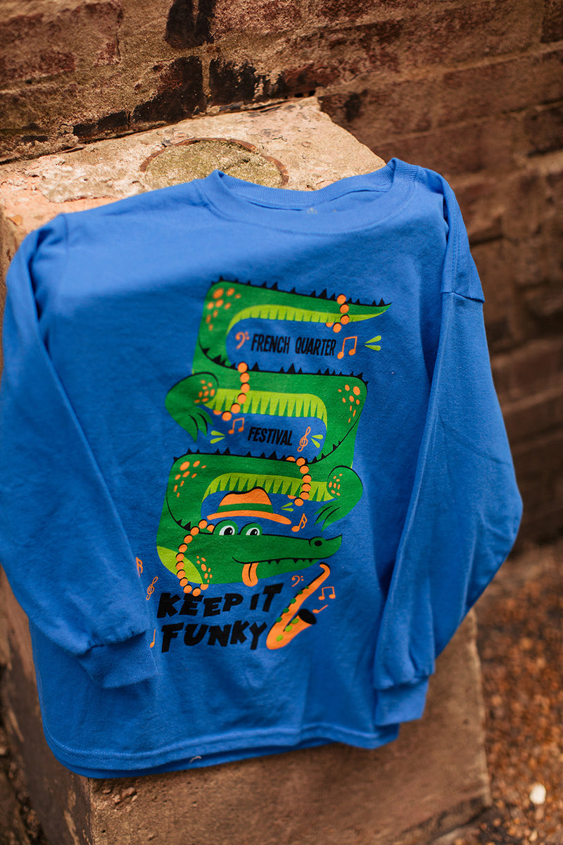 French Quarter Festival Youth Keep It Funky Long Sleeve Blue T-shirt Tee - Lifestyle