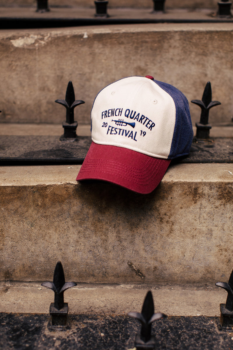 French Quarter Festival Headwear Riverfront Red, White, and Blue Velcro Closure Hat Cap - Lifestyle