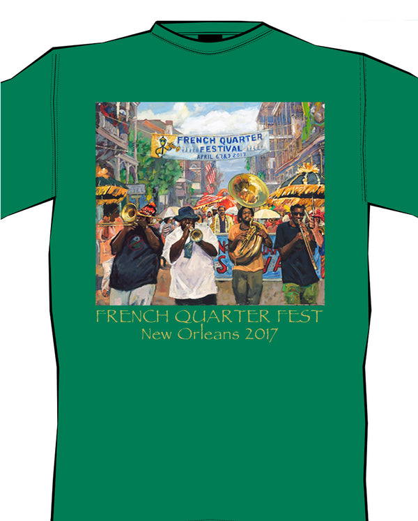 2017 French Quarter Festival Poster T-Shirt Green - Front